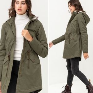 NEW Long Olive Trench Hooded Utility Coat Jacket
